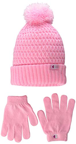 Champion unisex child Glove & Set Cold Weather Hat, Pink/Red, Youth Size US