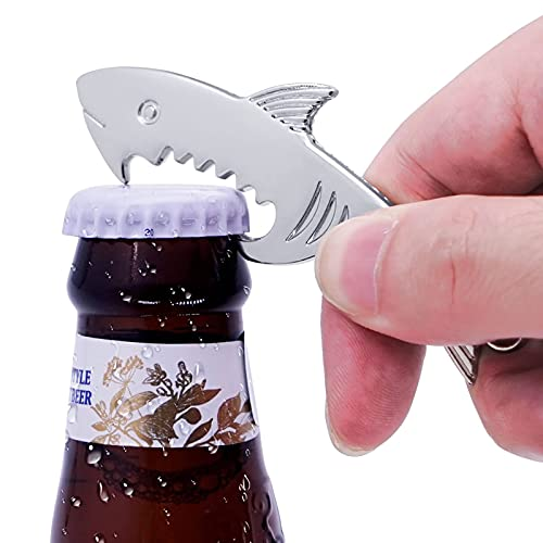Shark Style Metal Bottle Opener Keychain Accessories,Gift Ideas for Dad Him Boyfriend Husband Grandpa Uncle, Cool Gadgets Christmas Stocking Stuffers, Birthday Anniversary (1pcs)