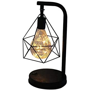 Lampada da Tavolo Abat Jour da Comodino Vintage Stile Industriale Metallo Ferro Battuto Luce Notte per Decorazione Casa caffè Ristorante