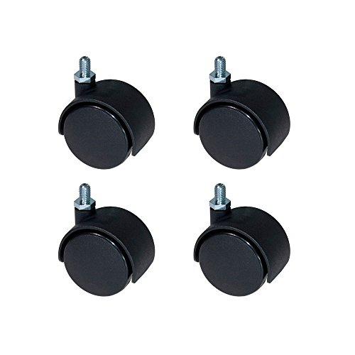EMUCA Ruedas para Muebles, Kit de 4 Ruedas giratorias gemelas Negras con Perno M8x12, Ø 40mm