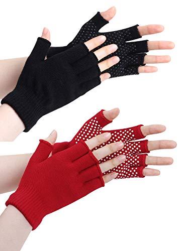 LADES DIRERCT Damen Fingerlose Handschuhe - Winter Handschuhe Fingerlos Warm Gestrickte Rutschfest Fäustlinge Handschuhe Ohne Fingerspitzen Kurze Fingerhandschuhe Outdoor (SchwarzA1+Rot)