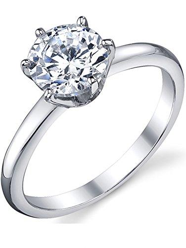 Damen Sterling Silber 925 Verlobungsring, Ehering Mit 1.25 Karat Runde Zirkonia Bequemlichkeit Passen,Größe 50