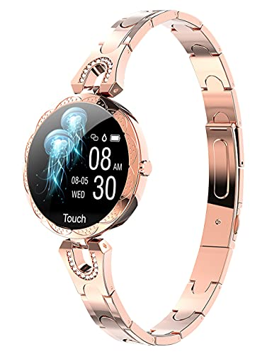 Women Smart Watch for Android iOS Phone Fitness Tracker Heart Rate Blood Pressure Waterproof Activity Tracker Pedometer Step Calories Counter Sleep Monitor Health Exercise Luxury Fashion Smartwatch