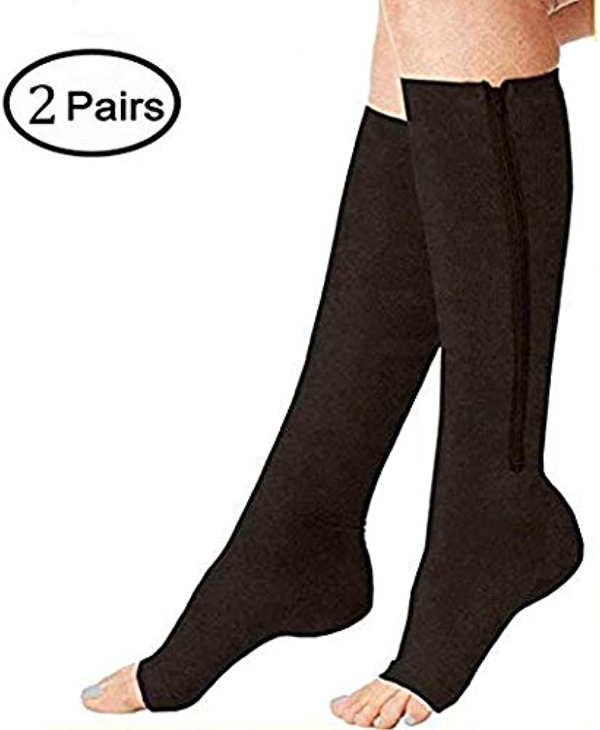 (2 Pairs) Compression Socks, New Compression Zip Sox Socks Stretchy Zipper Leg Support Unisex Open Toe Knee Stockings (S M, Black)