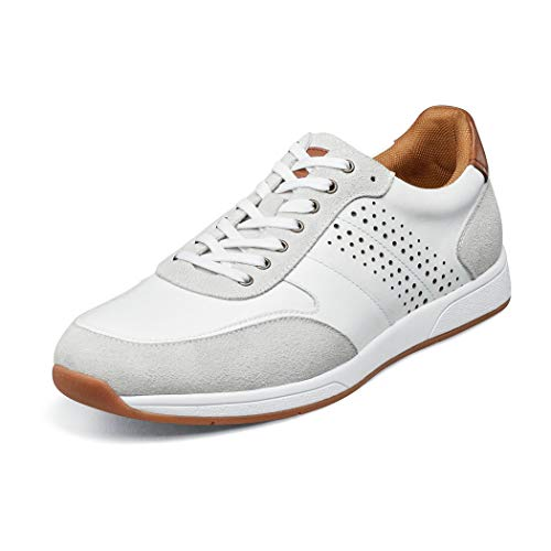 Florsheim Unisex Fusion Moc Toe Lace-up Ii Sneaker, White Smooth/Suede, 9.5 US Women