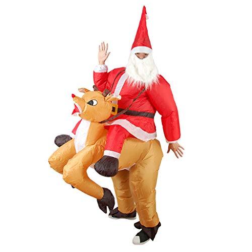 Disfraz de Alce Inflable para Adultos Traje de Jinete de Renode Navidad Santa Cosplay