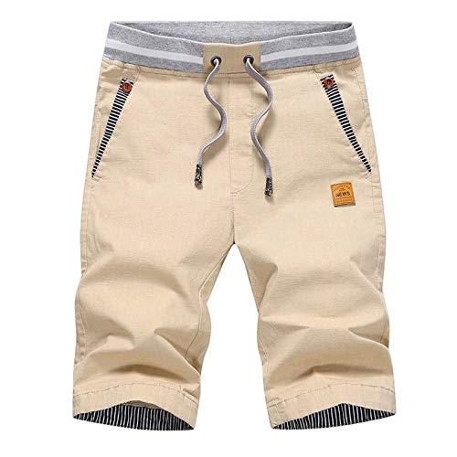JustSun Mens Summers Cotton Casual Shorts with Elastic Waist and Pockets Khaki Medium