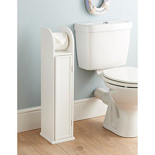 White Wooden Freestanding Toilet Roll Holder & Bathroom Storage Cabinet