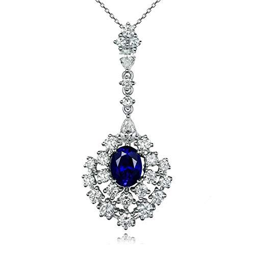 Bishilin Oro Blanco 18K Collar de Mujer Colgante Oro Blanco 18K Azul Zafiro Collares Pendientes Forma de Lágrima Azul Plateado Collar de EURena Regalos de Cumpleaños Joyas Longitud45Cm