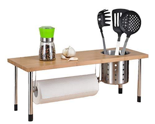 Spetebo Bambus Küchenregal mit Edelstahlbecher - Spülbeckenregal für mehr Stauraum in der Küche...