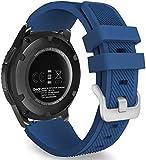 @ccessory 22mm Silicone Sgancio Rapido Cinturino Sport Strap per Samsung Galaxy Watch 3 45mm / Gear S3 Frontier Classic (Blu Navy)