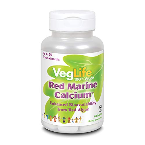 VegLife Red Marine Calcium 1000mg, Bioavailable Calcium & Magnesium from Red Algae; Certified Vegan; 90ct, 30 Serv.