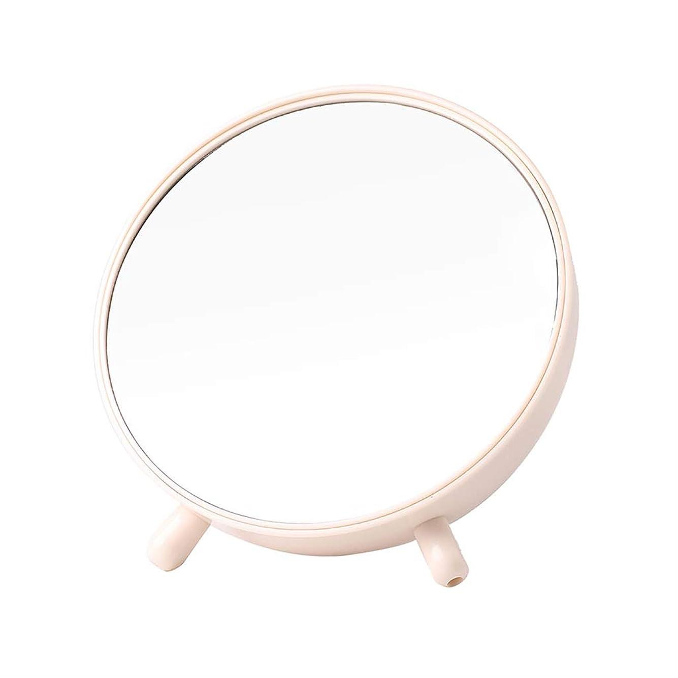 相対サイズパンサー共和国明るい鏡 ストレージドレッシングミラー、ラウンドクリエイティブ家庭用デスクトップ学生ドミトリールーム多機能ポータブルメイクミラー メイクアップとミラー (Color : White)
