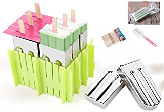 Astra Gourmet Set of 6 Stainless Steel Popsicle Mold with Plastic Stick Holder Ice Cream Mould Ice Pop Mold DIY Lolly Mould Cream Maker Freezer Include 50 Wooden Sticks