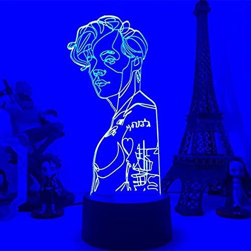 3D animación ilusión noche luz Harry Styles lámpara regalo para los aficionados dormitorio decoración LED sensor táctil lámpara de escritorio Harry Edward Estilos Star Gift-Touch