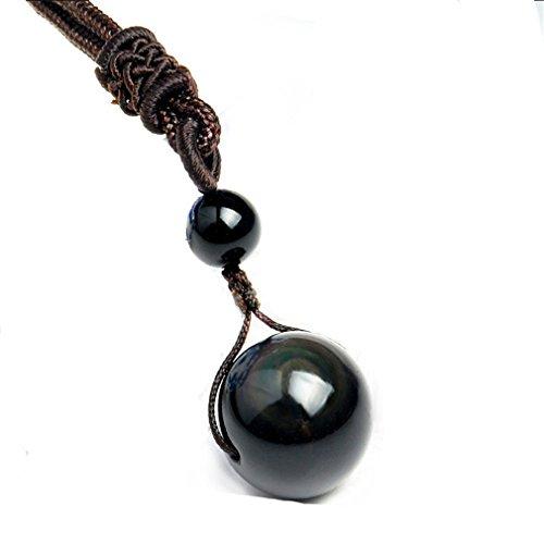 Yesiidor - Collar con colgante de obsidiana negra natural, colgante con piedra natural, colgante...