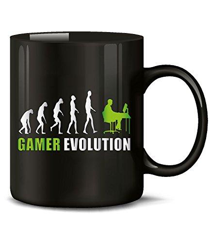 Gamer Evolution Nerd Fun Tasse Becher Kaffeetasse Kaffeebecher gaming pc konsole tisch zubehör mauspad xxl controller games spiele deko sessel booster setup anime guthaben rgb level up gadgets ps
