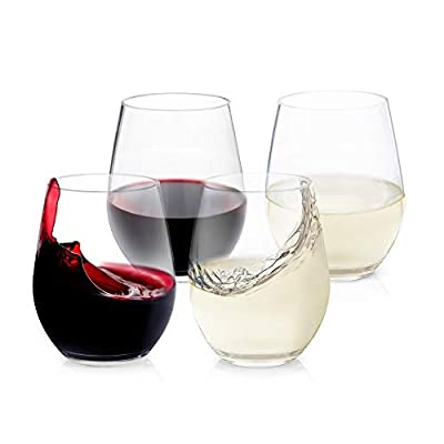 Malibu Stemless Wine Glass Clear, 20oz, Set of 4 Shatterproof Tritan Dishwasher safe Drinking Glasses - Unbreakable Glassware for Indoor and Outdoor Use - Reusable Drinkware, BPA Free