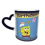 Spongebob - Tazza da tè in ceramica con scritta 'Happy Birthday', ideale come regalo, colore: blu