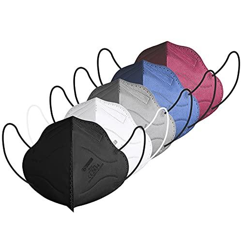 IDOIT 40 Stück bunte FFP2 Maske farbig, CE zertifizierte Atemschutzmasken mit 5-lagige hohe Filtration, Einzeln verpackte Mund- und Nasenschutzmaske