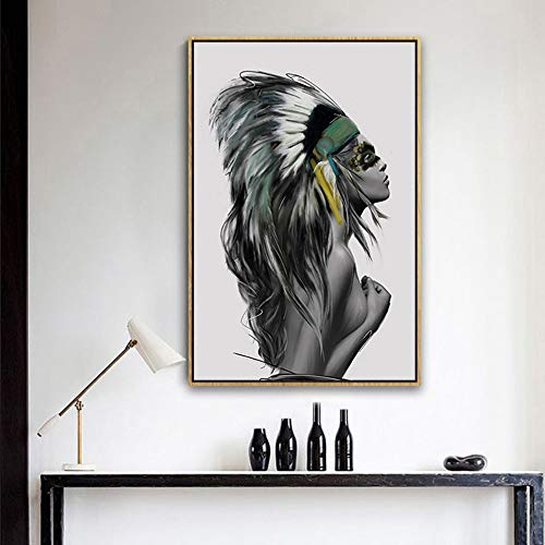 Scra AC Wallpaper European Modern Abstract Figure Indian Beauty Decorative Painting Gold Picture Frame Wall Painting Mural 40 * 60CM Home Porch Living Room Hotel HD Micro Spray