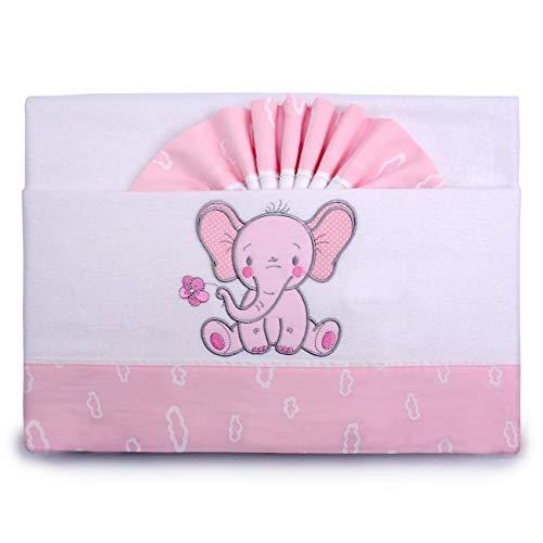 Pekitas - Parure di lenzuola di flanella, per neonati, 3pezzi, per lettino da 60x 120 cm,100% cotone, prodotte in Portogallo Cuna rosa-bianco,culla 60 x 120