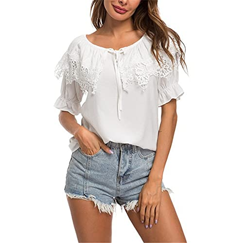 XWLY Women Shirt Elegant Ruffle Short Sleeves Round Neck Lace Tops Women Summer Thin and Light Breathable Women Blouse Work Appointment Casual Women's Tops A-White M
