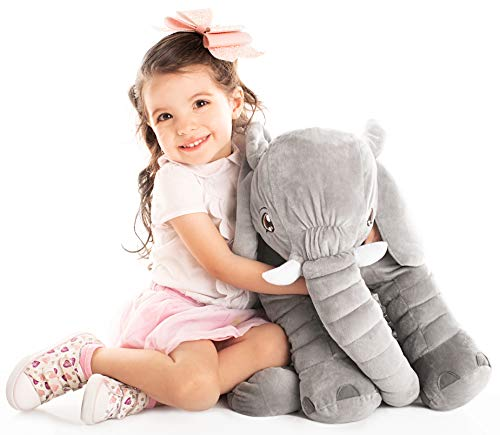 Uncle Kal Exclusivo Elefante de Peluche Gigante 64 cm | Hermoso Moño Incluido | El Regalo Perfecto para Bebe y Niños | 1 Año de Garantía en Todos Nuestros Juguetes para Bebe, Niños y Niñas |