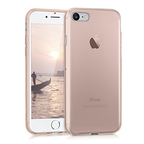 kwmobile Funda Compatible con Apple iPhone 7/8 / SE (2020) - Carcasa de TPU para móvil - Cover Trasero en Oro Rosa/Transparente