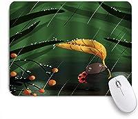 KAPANOUマウスパッド 雨の日で緑の葉を育てる雨漫画てんとう虫緑の草オレンジベリー ゲーミング オフィス おしゃれ 良い 滑り止めゴム底 ゲーミングなど適用 マウス 用ノートブックコンピュータマウスマット