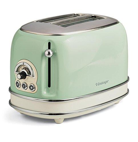 Ariete, 155 Vintage, Toaster für 2 Scheiben, 810 W, 6 Toaststufen, aus Pastellgrün lackiertem Edelstahl, ohne Zangen