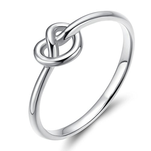 EAMTI 925 Sterling Silver Infinity Ring Celtic Heart Love Knot Thin Promise Band for Women Girls 10 (6)
