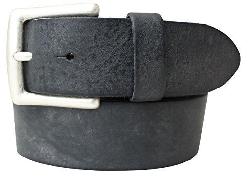 Gürtel aus weichem Vollrindleder Used-Look 4,0 cm | Jeans-Gürtel für Damen Herren 40mm | Ledergürtel Vintage-Look | Schwarz 90cm