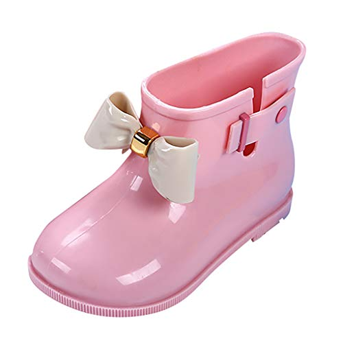 HDUFGJ Unisex-Kinder rutschfest Gummistiefel Schuhe Baumwollschuhe Stiefeletten Chelsea Boots Winterstiefel Reißverschluss Hoher Absatz Worker Boots28 EU(Rosa)