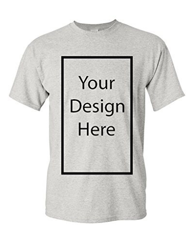 Add Your Own and Text Design Custom Personalized Adult T-Shirt Tee (Large, Ash)