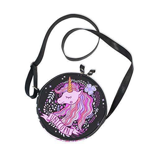 Runde Tasche, süßes rosa lila Einhorn Blumenmuster Kreis Tasche für Damen Mädchen