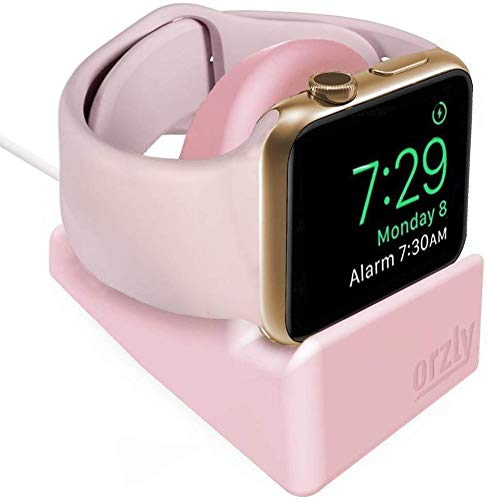 Orzly - Compact Stand for Apple Watch - Nightstand Mode Compatible - PINK Support Stand with Integrated Cable Management Slot (38mm & 42mm & 40mm & 44mm Compatible)