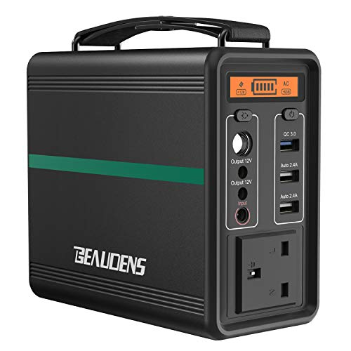 BEAUDENS Portable Power Station 166Wh/52000mAh Lithium Iron Phosphate Battery Solar Generator, 2000 Cycles, 230V AC and 3 USB Ports, for Outdoors Camping Travel Fishing Emergency Power Supply Backup