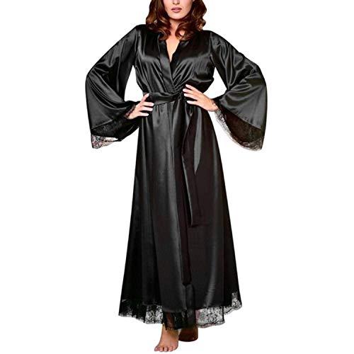 Sexy Nightgown Satin Silk Robes for Woman Lace Bridesmaid Robes Bathrobe Bath Robe Plus Size Long,Christmas Black,XL