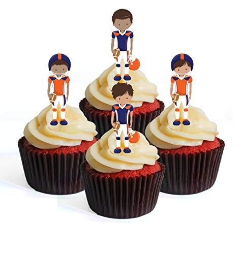 Ballon de football NFL GFL Superbowl Team Player Bleu/orange Theme #2 Edible Cupcake Toppers – Stand Up Wafer Decorations, Packung mit 12