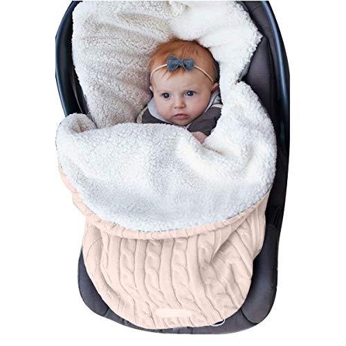 Pasgeboren baby Swaddle Deken Wrap Knit Zachte Dikke Fleece Slaapzak Wrap, Warm Slaapzak voor 0-12 Maand Baby Jongens Meisjes Cream Color