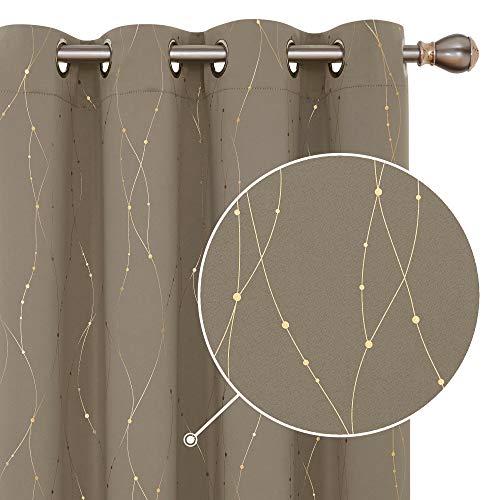 Deconovo Gold Linie mit Punkt Blickdichte Gardinen Ösenvorhang Schlafzimmer 175x140 cm Taupe 2er Set