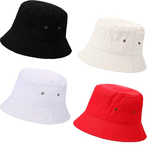 SATINIOR 4 Pieces Bucket Hat Cotton/Denim Packable Travel Hat Washed Beach Fishing Hat (Black, White, Beige, red, 58 cm)