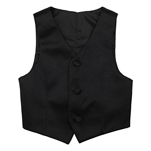 freebily Garçons Chemise Gilet Brillant sans Manche Imprimé Gentleman Enfant Veste Costume d'honneur Mariage Cérémonie Baptême Bébé 2-14 Ans Noir 10-12 Ans