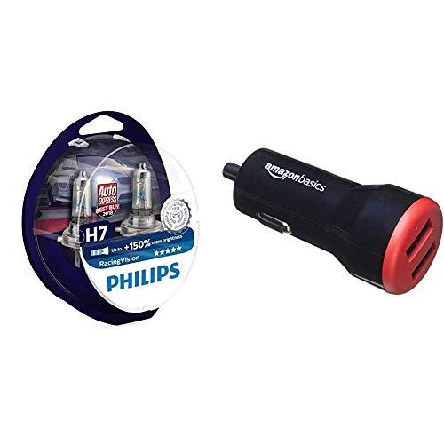 Philips RacingVision +150% H7 Scheinwerferlampe 12972RVS2, Doppelset & AmazonBasics - Kfz-Ladegerät für Apple- & Android-Geräte, USB-Anschluss: 2 Eingänge, 4,8Ampere / 24W, Schwarz/Rot