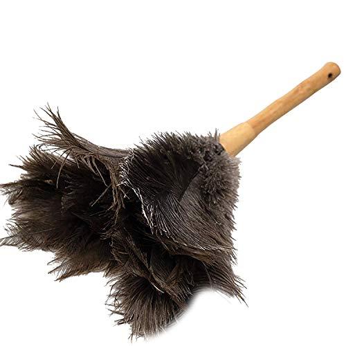 [Linodes]はたき ほこり取り ダチョウの毛 家庭用 車用 掃除道具 部屋掃除 竹の柄 ふわふわ おしゃれ ブラック/?15*37cm