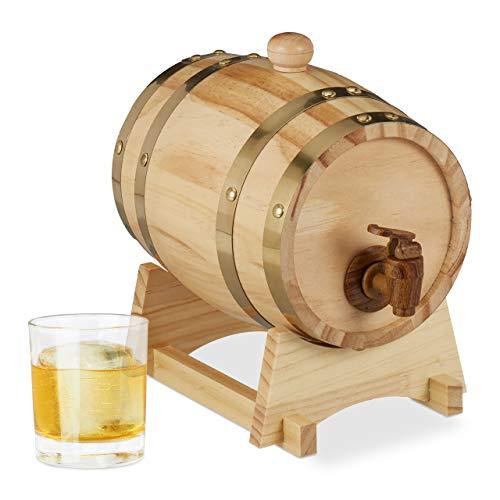 Relaxdays 10027852 Barril Madera 1,25 L con Grifo y Soporte, Vino, Whisky, Licor, Dispensador, 1 Ud, 23 x 16 x 25,5 cm, Marrón