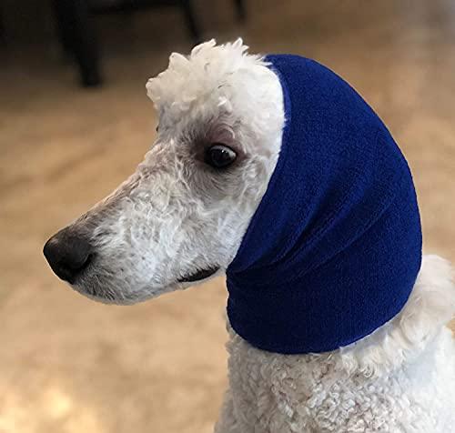 Pet Hoodz para perros ansiedad, aseo orejeras, protección de oído de perro, calmante, compresión de oídos, sudadera con capucha para mascotas, azul