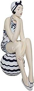 MY SWANKY HOME Retro Bathing Beauty Swimsuit Model Statue | Art Deco Woman Figurine Blue White
