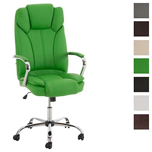 CLP XXL - Bürostuhl Xanthos Mit Hochwertiger Polsterung Und Kunstlederbezug I Drehbarer Und Höhenverstellbarer Chefsessel, Farbe:grün